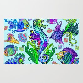Marine Life Exotic Fishes & SeaHorses Ornamental Style Rug