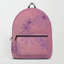 Pretty Pink & Rose Gold Floral Pattern Backpack