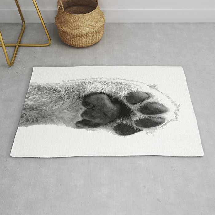 Black And White Dog Paw Rug By Alemi