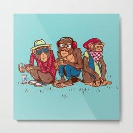 Three Wise Hipster Monkeys Metal Print