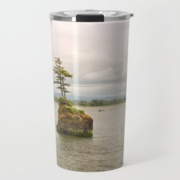 Altoona Rock Seastack Island Columbia River Oregon Washington Northwest Landscape Forest Trees Travel Mug