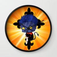 nightcrawler Wall Clocks featuring Chibi Nightcrawler by artwaste