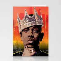 kendrick lamar Stationery Cards featuring King Kendrick by Tecnificent