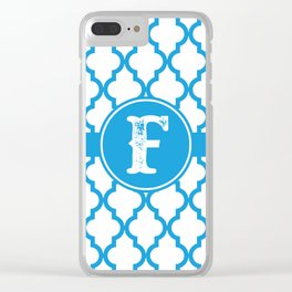 Blue Monogram: Letter F Clear iPhone Case