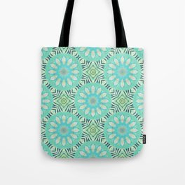 Cream And Turquoise Flowers Tote Bag