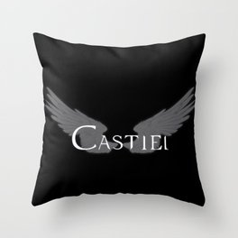 Castiel with Wings White Throw Pillow