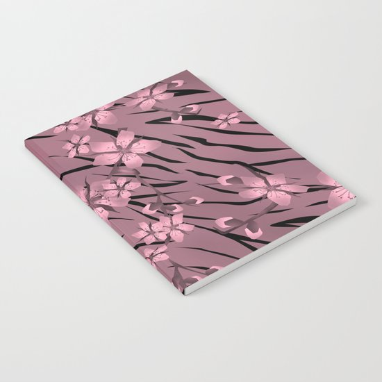 Pink floral pattern on a tiger background. Notebook