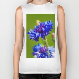 Blue cornflowers in summer Biker Tank