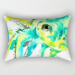 Octopus, yellow, turquoise green octopus lover art Rectangular Pillow