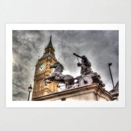 Big Ben and the Boadicea Statue London Art Print