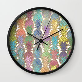 Colorful Watercolor and Gold Pineapple Pattern Wall Clock