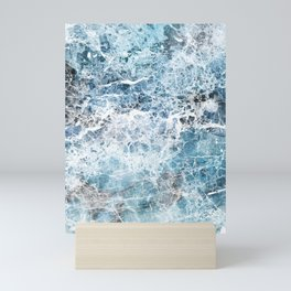 Sea foam blue marble Mini Art Print