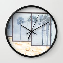 Rainy Days and Palm Tree Reflections Wall Clock