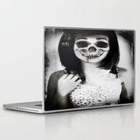 rockabilly Laptop & iPad Skins featuring rockabilly skull portrait by Joedunnz