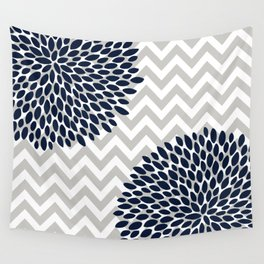 Chevron Floral Modern Navy and Grey Wall Tapestry
