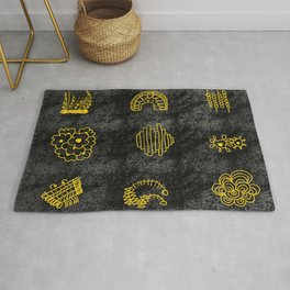 YELLOW FLORAL DODDLE ON BLACK Rug