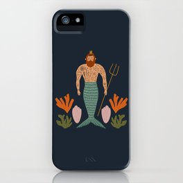 Mid Century Magic Male Mermaid with Tattoos Aquatic Coral Sea Shells Fantasy Fun Illustration Hipster Man iPhone Case