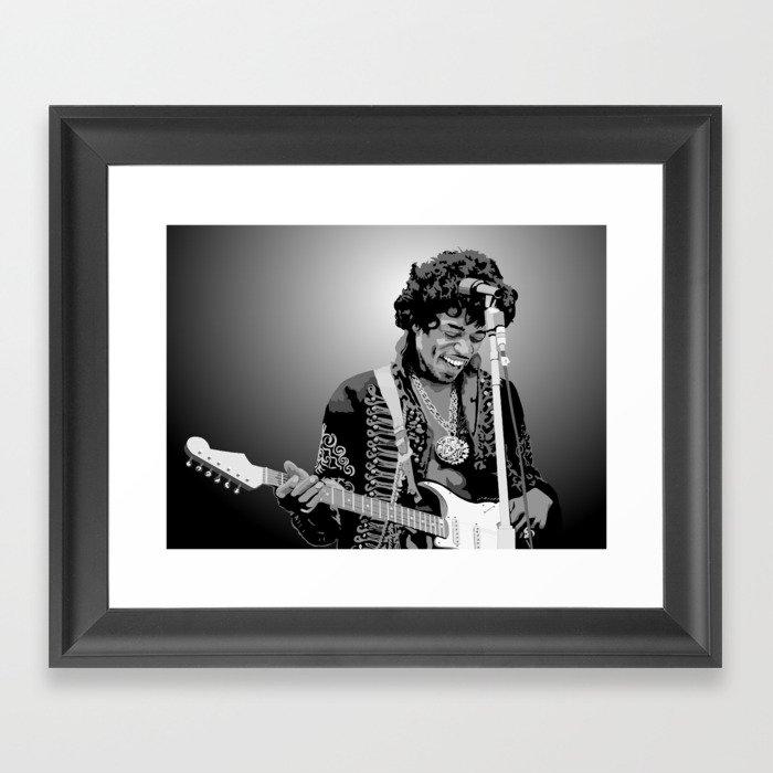 Jimi Hendrix Black And White Illustration Gerahmter Kunstdruck
