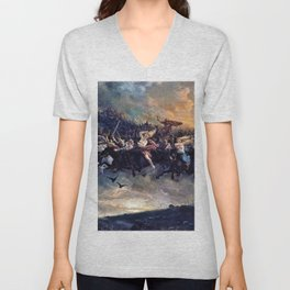 Peter Nicolai Arbo - The Wild Hunt of Odin - Digital Remastered Edition Unisex V-Neck