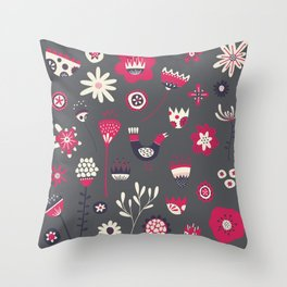 Scandi Floral Dark Throw Pillow