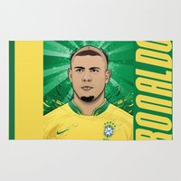 messi Area & Throw Rugs featuring Football Legends: Ronaldo R9 Brasil  by Akyanyme