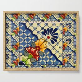 talavera mexican tile in blu Serving Tray