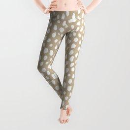Handmade polka dot brush spots (white/tan) Leggings