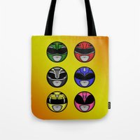 power ranger Tote Bags featuring Mighty Morphin Power Ranger Headz by Omnibit Designs