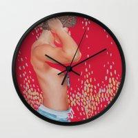 monster hunter Wall Clocks featuring Hunter by Kim Leutwyler