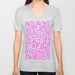 Neon Pink Abstraction Unisex V-Neck