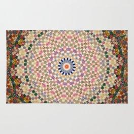 Vintage Textile YoYo Quilt Mandala Rug