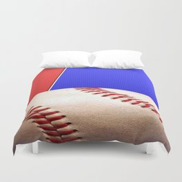 Baseball Sports on Blue and Red Duvet Cover