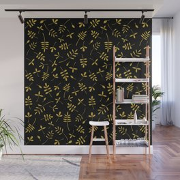 Gold Leaves Design on Black Wall Mural