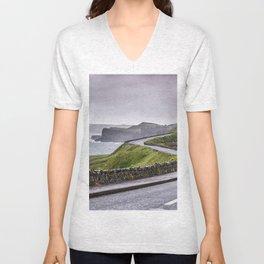 Windy road,Dunluce castle,Ireland,Northern Ireland Unisex V-Neck