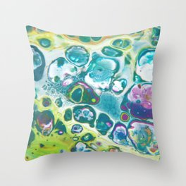 Fluid Nature - Living Cells - Abstract Acrylic Pour Art Throw Pillow