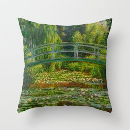 Claude Monet Impressionist Landscape Oil Painting-The Japanese Footbridge and the Water Lily Pool Throw Pillow
