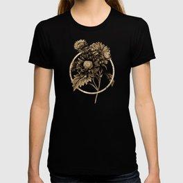 Gold Ring China Aster Glitter Botanical Illustration T-shirt