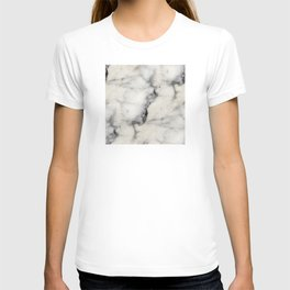 Smoky-White Marble with Black Veins Texture T-shirt