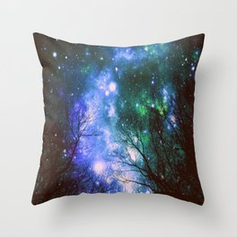 Black Trees Violet Green Space Throw Pillow
