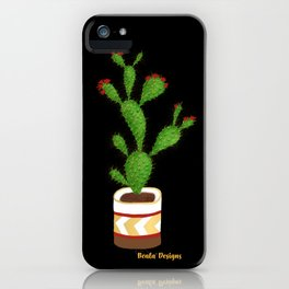 Flowering Cactus on Black Background iPhone Case