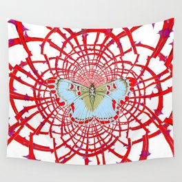 ARTISTIC RED-WHITE BUTTERFLY DREAM CATCHER WEB Wall Tapestry