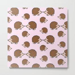 Cute little brown hedgehogs in pink love Metal Print