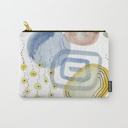 Petra VI - Stones - Abstract - Nature - Watercolor - Gold, Yellow, Blue and white Carry-All Pouch
