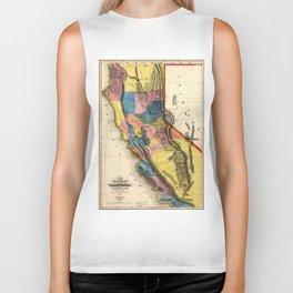 Vintage Map of Gold Regions in California (1851) Biker Tank