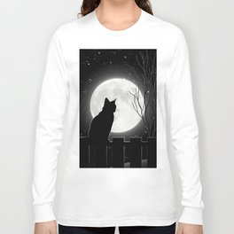 Silent Night Cat and full moon Long Sleeve T-shirt