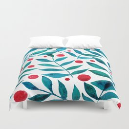 Watercolor berries and branches - turquoise and red Duvet Cover