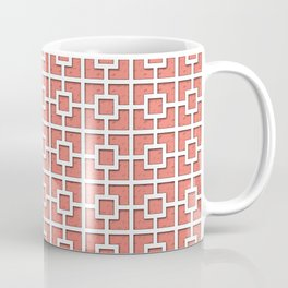 Coral Pink Square Chain Patterned Design Coffee Mug