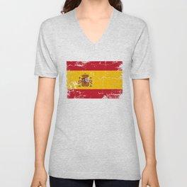 Spain flag with grunge effect Unisex V-Neck