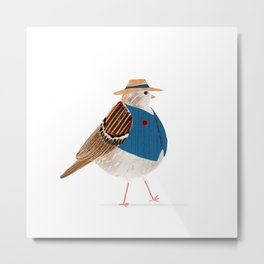 Mr. Fat Bird | Fedora Hat | Blue Vest Metal Print