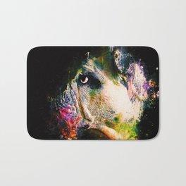 english bulldog dog splatter watercolor Bath Mat